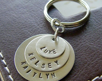 Custom Keychain - Personalized Hand Stamped Sterling Silver - Three Layered Key Chain - Perfect Gift for Father's Day