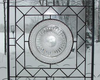 stained glass panel Crystal Diamonds Fostoria