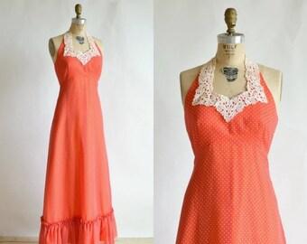 30% OFF 1970s Maxi Dress --- Vintage Red Polka Dot Dress