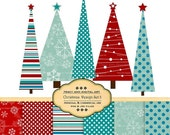 Blue and Red Christmas Digital Paper pack and Clip art set for invites, card making, digital scrapbooking -  Xmas3