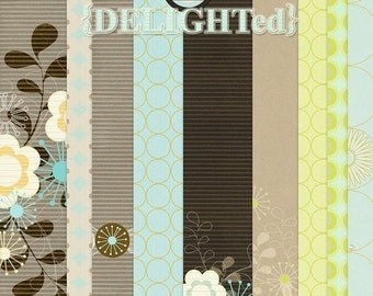 Delighted Digital Papers for scrapbooking, card making , Invites, Photo cards