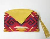 Large Wool Zippered Pouch Small Clutch Bag Accessory Organizer Cosmetic Bag Fringed Leather Zipper Pull Red Yellow