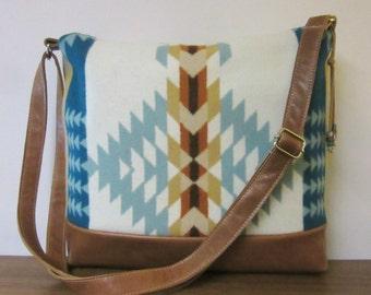 Shoulder Cross Body Bag Messenger Purse Brown Leather Adjustable Strap Blanket Wool from Pendleton Oregon Southwest Turquoise