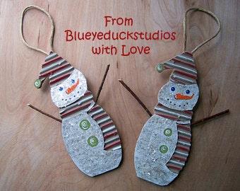 Peppermint Stripe Scarf and Hat, UpCycled Art, ReClaimed Cardboard, SNOWMAN ornament, Christmas Tree Ornie, Folk Art