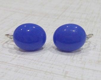 Blue Clip Earrings, Post Clip On Earrings, Non Pierced Earings, Cobalt Blue Jewelry, Fused Glass Jewelry, Blue Glass Earrings - Nelly - -