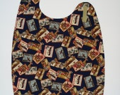 Adult Bib Clothes Protector in Tropical Travel Poster Print Side Neck Closure - Reversible