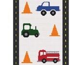 INSTANT DOWNLOAD Chella Crochet  Little Boy vehicles Truck Tractor Fire Truck Cones Road Boarder Crochet Pattern