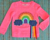 Chasing Rainbows -- Embellished Neon Pink Sweatshirt with Ribbons