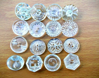 SALE-96 antique vintage GLASS Czech crystal buttons assorted shapes and ornaments