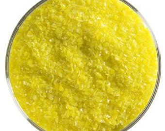 Canary Yellow Opal Frit, 90 COE, medium size, Bullseye Glass, 1 pound container
