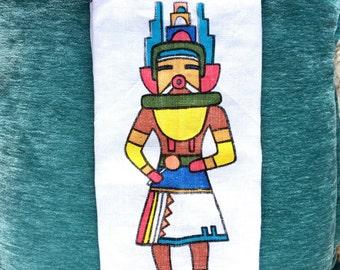 Vintage  linen tea dish towel  indian navajo  southwestern native american souvenir 1972 calendar collectible rare cortez co nizhonie fabric