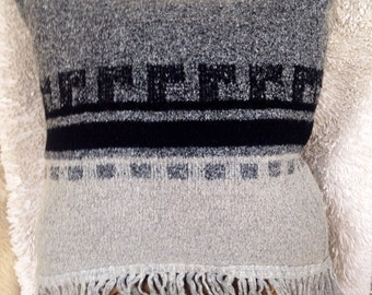 Rustic mexican pillow cover soft black gray sweater home decor throw textile fiber art southwestern modern