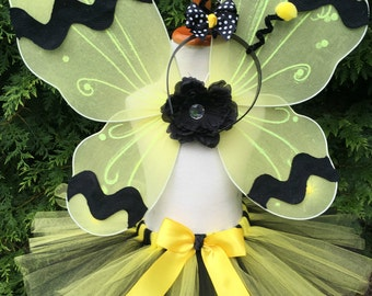 Girl Bumble Bee Costume - Bee Tutu Costume - Yellow and Black - Wings, Antenna and Leg Warmers