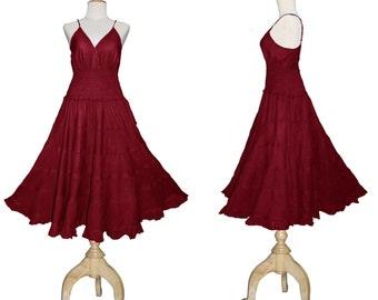 Long Maroon Red GYPSY PRINCESS Smock Maxi Dress Hippie Boho Plus Size 26 28 30 4x 5x   Gothic Medieval