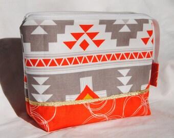 Zippered Pouch, Make up Bag, Art Bag, Pencil Case, Zippered Bag, Widemouth Zippered Bag