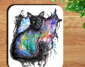 Black Cat Nebula Watercolor Art Print Mouse Pad