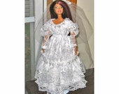 Barbie Clothes White Wedding Dress with Heart Shaped Pearls