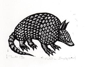 Armadillo Linocut Art Print, Armadillo Linoleum Block Print, Wall Art Print