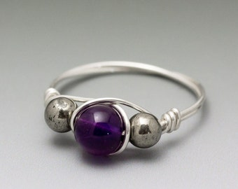Kims Jewels Amethyst & Pyrite Sterling Silver Wire Wrapped Bead Ring
