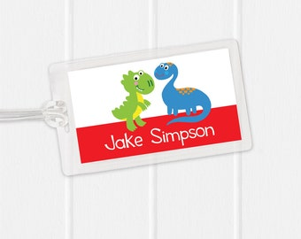 Dinosaur Bag Tag - Sports Bag Tag - Diaper Bag Tag - Kids Bag Tag Luggage Tag - trex - tyrannosaurus rex - brontosaurus