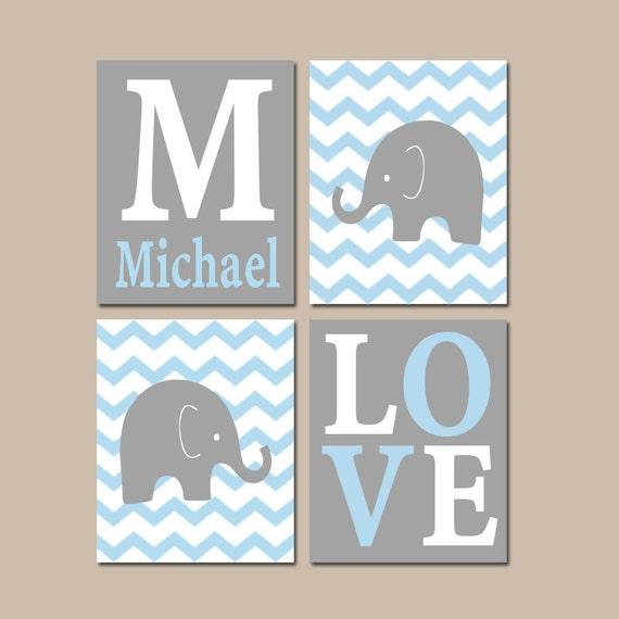 Baby boy nursery wall art elephant gray blue chevron artwork - Wall decor for baby boy ...