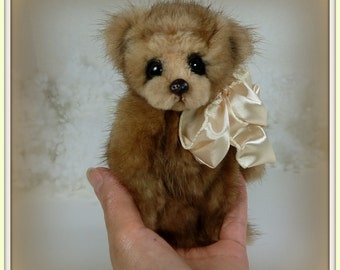 Liam – Mink Teddy Bear, Artist Bear, Handmade, Stuffed Animal, Toy, OOAK, Recycled Mink, Made in Alaska