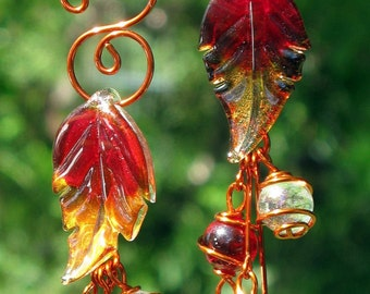 Set of 2 Glass Autumn Leaf Suncatchers with Jewel Tone Copper Wrapped Marbles, Window Decoration, Home Decor