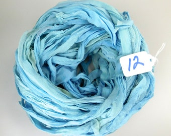 Sari silk ribbon, Silk Chiffon sari ribbon, Recycled Silk Sari Ribbon, China Blue ribbon, aqua blue ribbon, weaving supply, WIDE ribbon