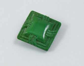 Vintage Green Glass Square Button with Raised Design