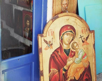 "Greece photography - icon painting - window art print - street photography - orthodox virgin mary - aqua gold teal indigo  ""Icon at Door"""