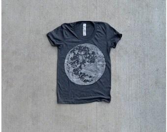 Women tshirt / t shirt for women - full moon print on heather black - ladies top - for her / for women - moon shirt by Blackbird Tees