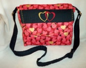 Love Hearts SALE 16% off Messenger over head cross body handbag tote for all ages add name through hearts  perfect all year Valentines day