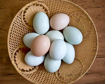 Egg Photography, Kitchen Decor, Organic Pastel Eggs, Farmhouse Photo, Basket, Nature Art, Rustic Print, Beige, Brown, Teal- Eggs in a Basket