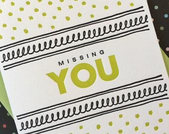 Letterpress Card - Fancy Missing You