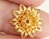 8 pcs of gold plated filigree bead cap 16x8mm, gold flower