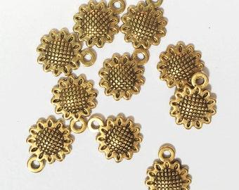 Bulk 100 pcs of Antique gold Sunflower charm 13x7mm, Sunflower pendant drop
