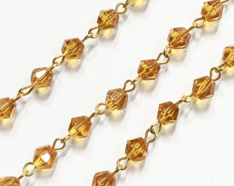 3ft of gold plated wire with yellow glass bicone  beads, yellow glass beaded chain