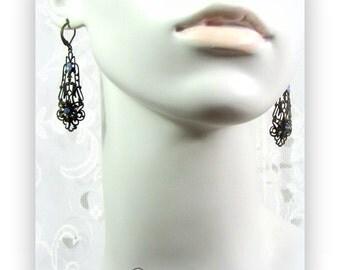 Vintage Dark Brass Filigree drop earrings with blue rhinestone accents