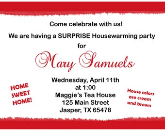 20 Personalized Housewarming Party Invitations  -  New Home - Housewarming