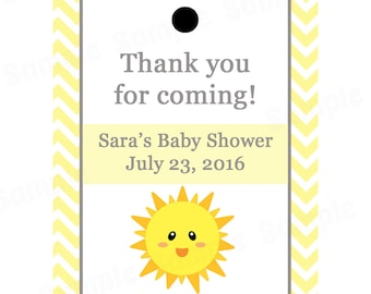 24 Personalized Baby Shower Favor Tags  - You Are My Sunshine Baby Shower - Sunshine Baby Shower - Sunshine Favor Tags