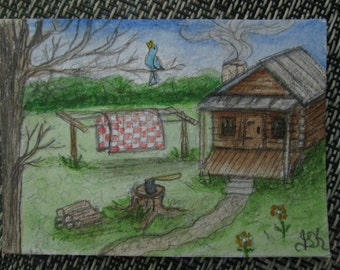 "Original 2 1/2"" x 3 1/2"" ACEO Miniature Folk Art Painting Cabin"