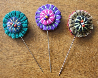 Set of Handmade Wool Felt Sewing Pins -- Pincushion Ornaments -- Wool Sewing Pins -- Decorative Pins
