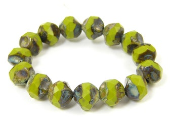 Olive Green Glass Beads 8mm Olivene Picasso Beads Cut Faceted Round Green Beads Czech Glass Beads Central Cut Beads |OB1-G1|
