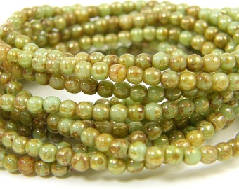 3mm Green Round Glass Beads - Picasso Czech Druk Beads |LG7-6| 1x50