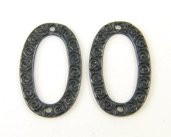 Gunmetal Earring Link Jewelry Connector Oval Earring Findings Gray Jewelry Component Link with Swirls  BL1-8 2 XS