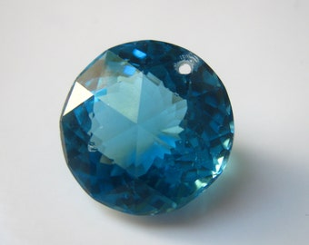 Exquisite AAA Swiss Blue Topaz Round Focal 16mm (20.32carats) Faceted Semi precious Gemstone beads