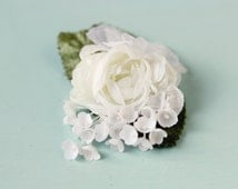 Small white flower clip, Floral hair clip, Vintage wedding accessory, flower bridal clip, Ranunculus clip, Bridal hair clip, Wedding clip
