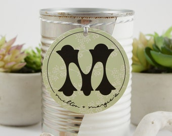 Soy Wax Candle in a Reused Hand Painted Can with a White Stripe