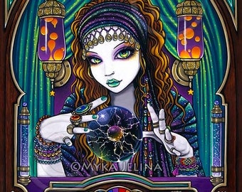 Gypsy Seer Celestial Astrology Fortune Teller Machine Lumina Limited Edition Canvas ACEO Trading Card