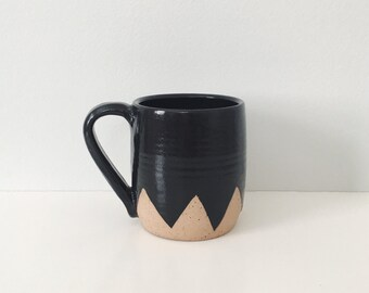 Black Mountain Ceramic Mug, Black geometric coffee cup with triangle mountain design, wheel thrown coffee mug, black ceramic mug